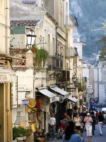Street in Taormina, Sicily, Italy, Europe Photographic Print