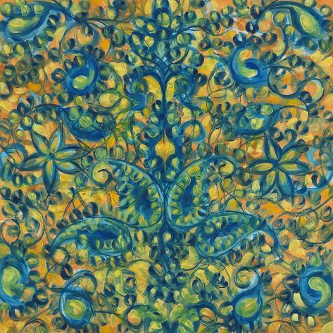 Blue and Orange Swirls Giclee Print