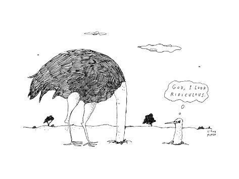 An ostrich, with its head in the ground, peaks back out at itself, and thi... - New Yorker Cartoon Premium Giclee Print