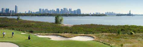 Liberty National Golf Club with Lower Manhattan And Statue of Liberty in the Background Stretched Canvas Print