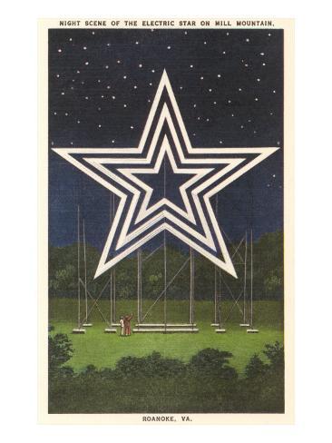 Lighted Star, Mill Mountain, Roanoke, Virginia Art Print