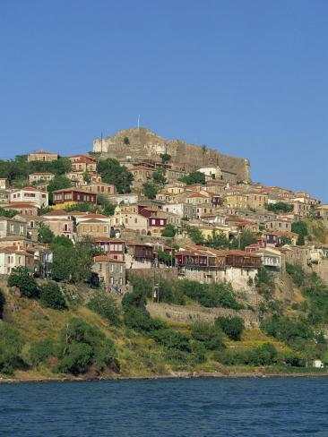 Town and Castle on the Skyline at Molyvos, on Lesbos, North Aegean Islands, Greece Photographic Print