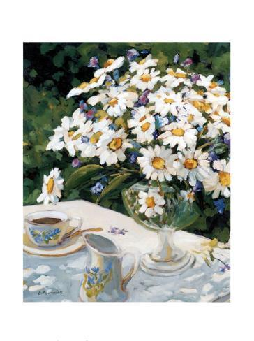 Breakfasting with Daisies Art Print