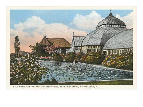 Lily Pond and Conservatory, Pittsburgh, Pennsylvania Art Print