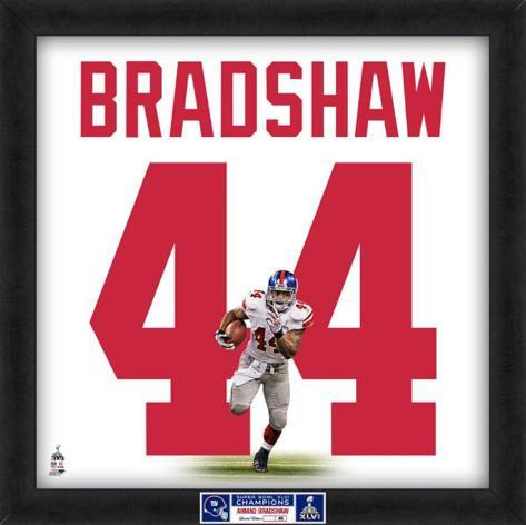 Limited Edition: Ahmad Bradshaw, Giants representation of the player's jersey Framed Memorabilia