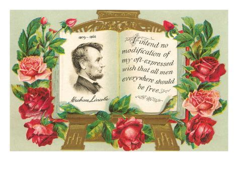 Lincoln in Book with Quotation Art Print