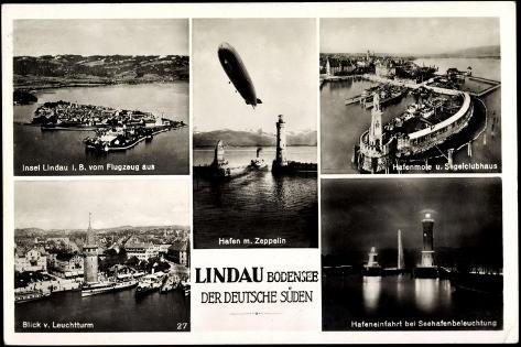 Lindau Bodensee, Hafen Mit Zeppelin, Leuchturm Giclee Print