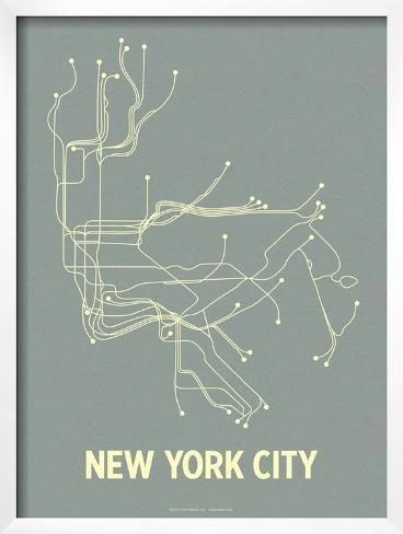 New York City (Steel Blue & Yellow) Framed Art Print