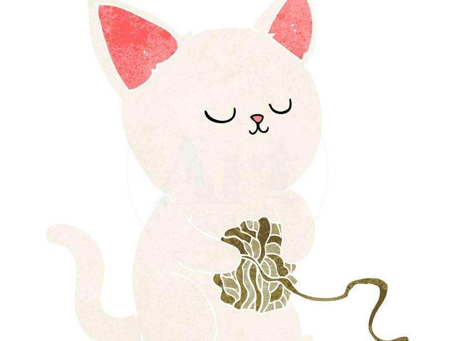 Cartoon Cat Playing With Ball Of Yarn Posters By Lineartestpilot At AllPosters