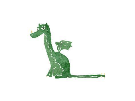 Retro Cartoon Sitting Dragon Art Print