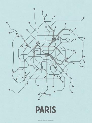 Paris (Light Blue & Dark Gray) Serigraph