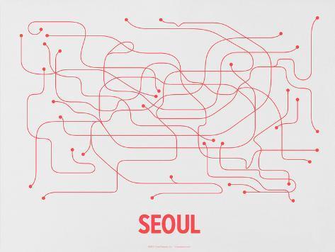 Seoul (Gray & Red) Serigraph