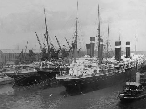 Liners in Southampton Dock. Photographed During the Titanic's Departure. Stretched Canvas Print