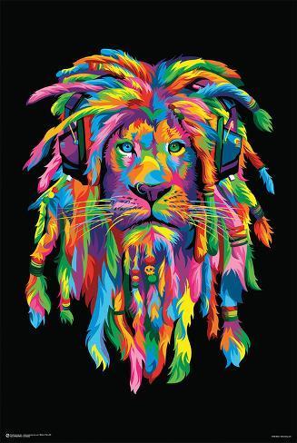 Lion Rasta Poster
