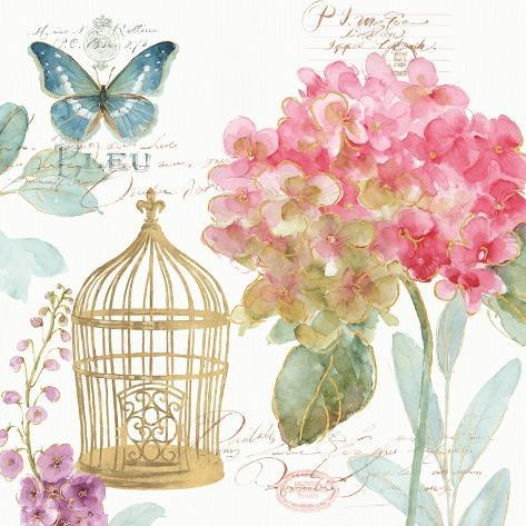 Rainbow Seeds Floral Birdcage II Art Print