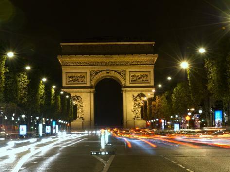 arc de triomphe at night paris france photographic print by lisa s