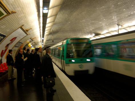 Commuters Inside Metro Station, Paris, France Photographic Print
