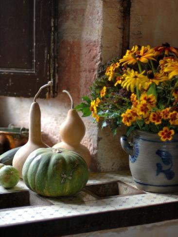 Gourds and Flowers in Kitchen in Chateau de Cormatin, Burgundy, France Photographic Print