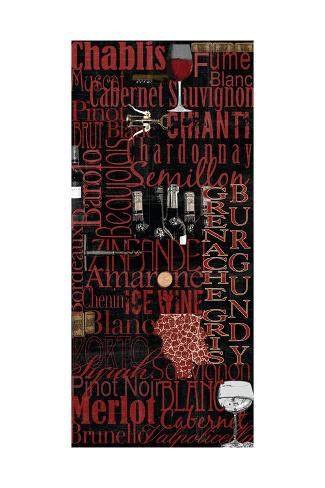 Red Wine - Black Art Print