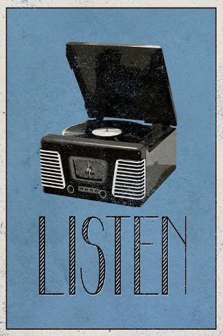 Listen Retro Record Player Art Poster Print Póster