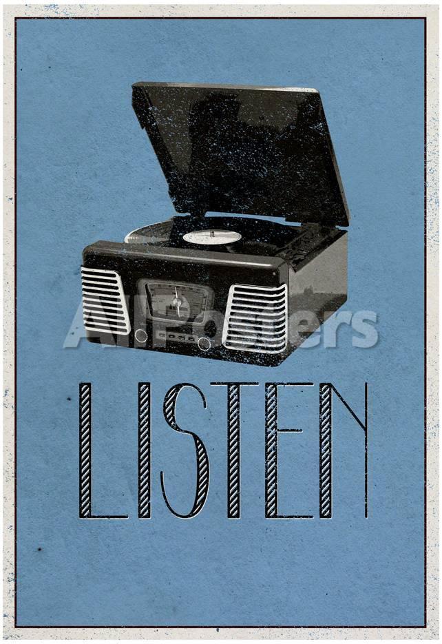 Listen Retro Record Player Art Poster Print