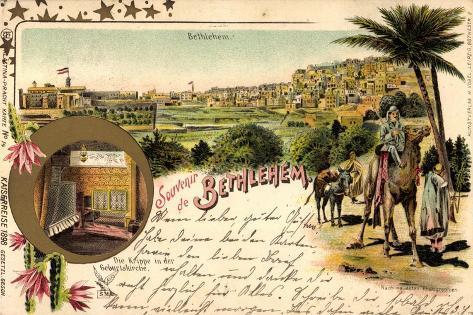 Litho Bethlehem Israel, Kaiserreise 1898, Kamele, Ort Giclee Print