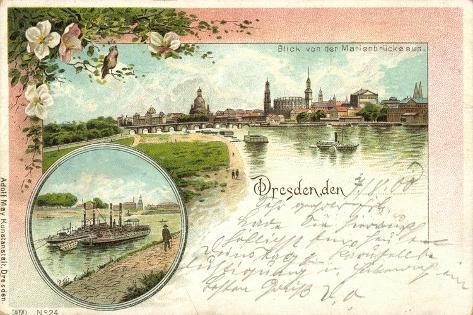 Litho Dresden, Blick Von Der Marienbrücke, Dampfer Giclee Print