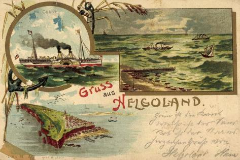 Litho Helgoland, Dampfer Cobra, Inselumriss, Segelboote Giclee Print