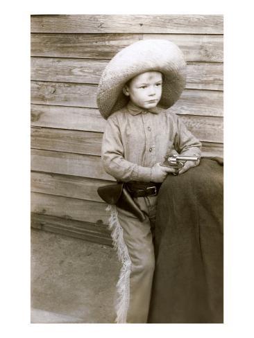 Little Boy with Toy Pistol Stampa artistica