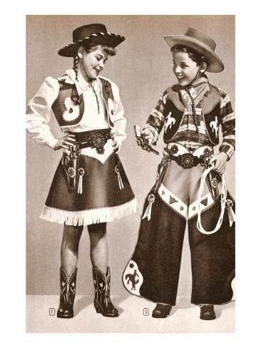 Little Cowboy and Cowgirl in Outfits Stampa artistica