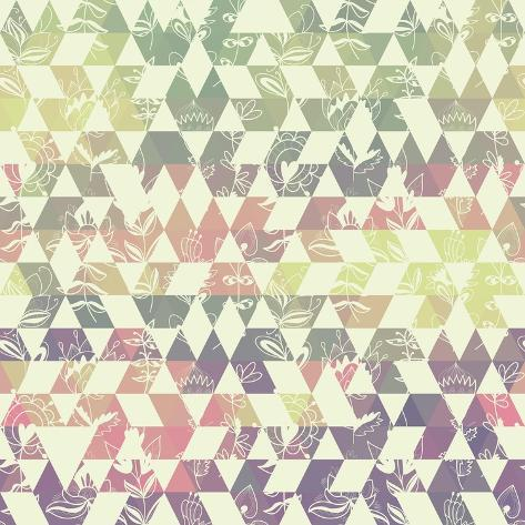 Pattern Geometric with Triangle and Plant Elements Art Print