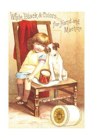Little Girl Sitting with Dog on Chair Art Print