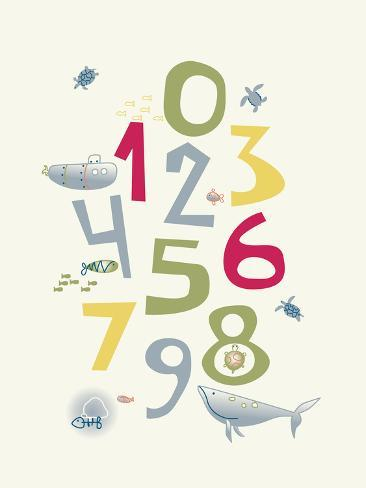 Numbers Nursery Poster With Baby Sea Life Ilration