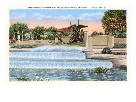 Littlefield Fountain, University of Texas, Austin Art Print