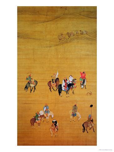 Kublai Khan (1214-94) Hunting, Yuan Dynasty Lámina giclée