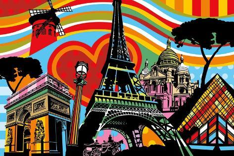 Paris l'Amour Art Print