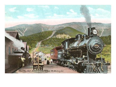 Locomotive at Base of Mt. Washington, New Hampshire Art Print