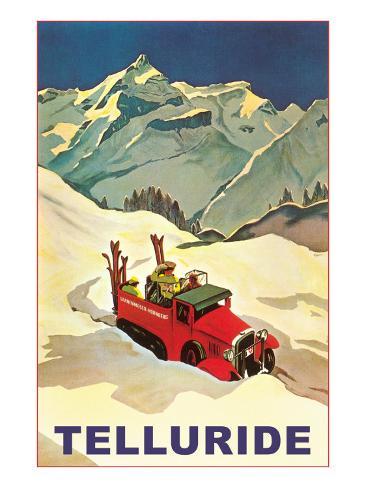 Lodge Vehicle in Snow at Telluride, Colorado Art Print