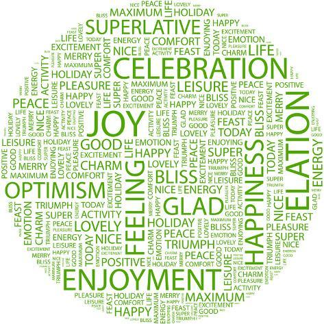 joy word collage on white background illustration with different