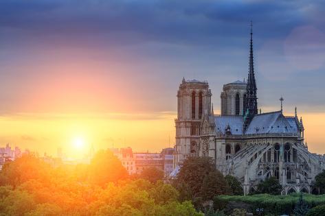 Notre Dame De Paris at Sunset Photographic Print