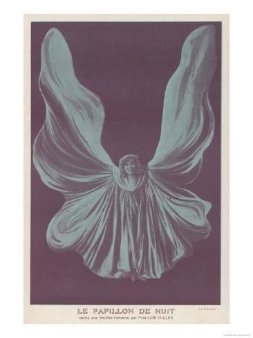 Loie Fuller (Mary Louise Fuller) American Dancer as le Papillon de Nuit at the Bouffes-Parisiens Giclee Print
