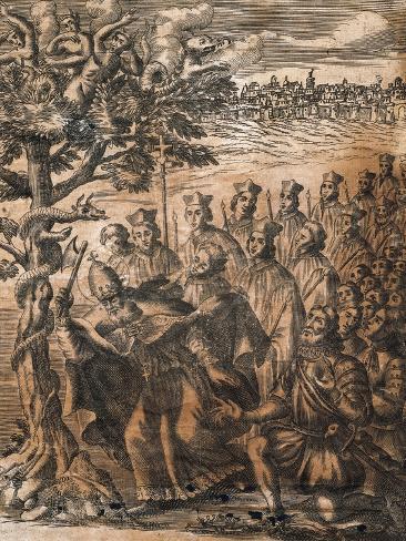 Lombards Conversion to Catholicism and Demolition of Enchanted Walnut Sacred to Wotan Lámina giclée
