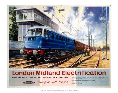 London Midland Electrification, Getting on with the Job, Wilmslow Cheshire Art Print