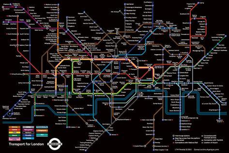 London Underground - Black Map Poster
