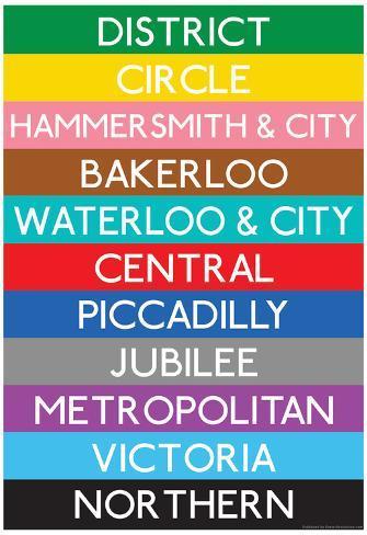 London Underground Tube Lines Travel Poster Poster