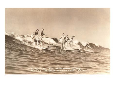 Long Board Surfers off California Art Print