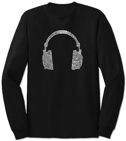 Long Sleeve: Headphones out of Different Music Genre's Long Sleeves