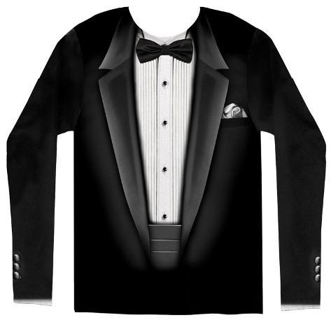 Long Sleeve: Tuxedo Costume Tee Camisetas de manga larga