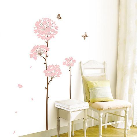 Long Stem Pink Flower Butterfly Petals Wall Decal
