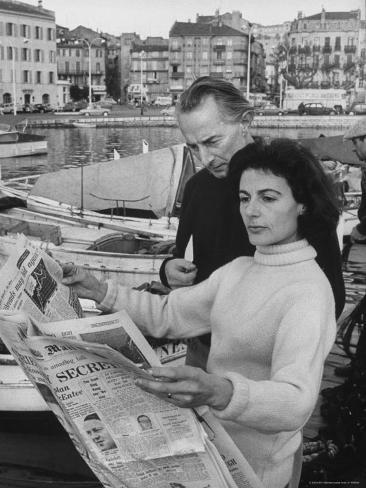 Actress Yvonne Mitchell and Husband Derek Monsey, Reading London Paper During Visit to Cannes Premium Photographic Print